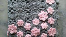 Tığ İşi Çiçekli Battaniye Resimli Anlatım