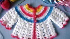 Tığ İşi Renkli Bebek Hırkası Resimli Anlatım