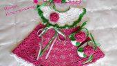 Kız Çocuklarımız için örgü elbise patik ve bandana yapımı aşamaları