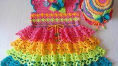 Gökkuşağı Bebek Elbisesi – Şablonlu