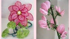 Boncuktan yapılmış aksesuar çiçek modelleri
