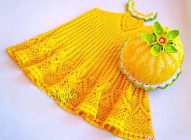Sarı Örgü Elbise ve Şapkası Resimli Anlatım