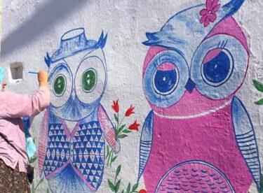 Nuran abla köyünün duvarlarını sanatsal çizimlerle süslüyor.