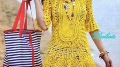 Yazlık bayan örgü elbise modelleri