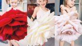 Anne ve çiçeklerden elbiseler giyen kızı fenomen oldu!