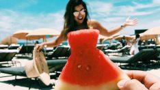 Sosyal medyanın yeni trendi 'karpuz elbise'