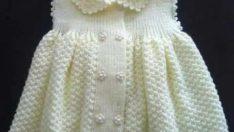 Kız Çocukları İçin Pirinç Örgüden Yakalı Örgü Bebek Elbisesi Modeli
