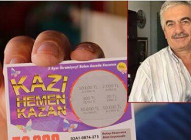 'Kazı kazan'dan 100 bin lira kazandı 100 lira aldı