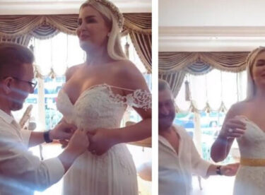 Gökhan Çıra ile evlenen Selin Ciğerci'ye babası altın kemer taktı